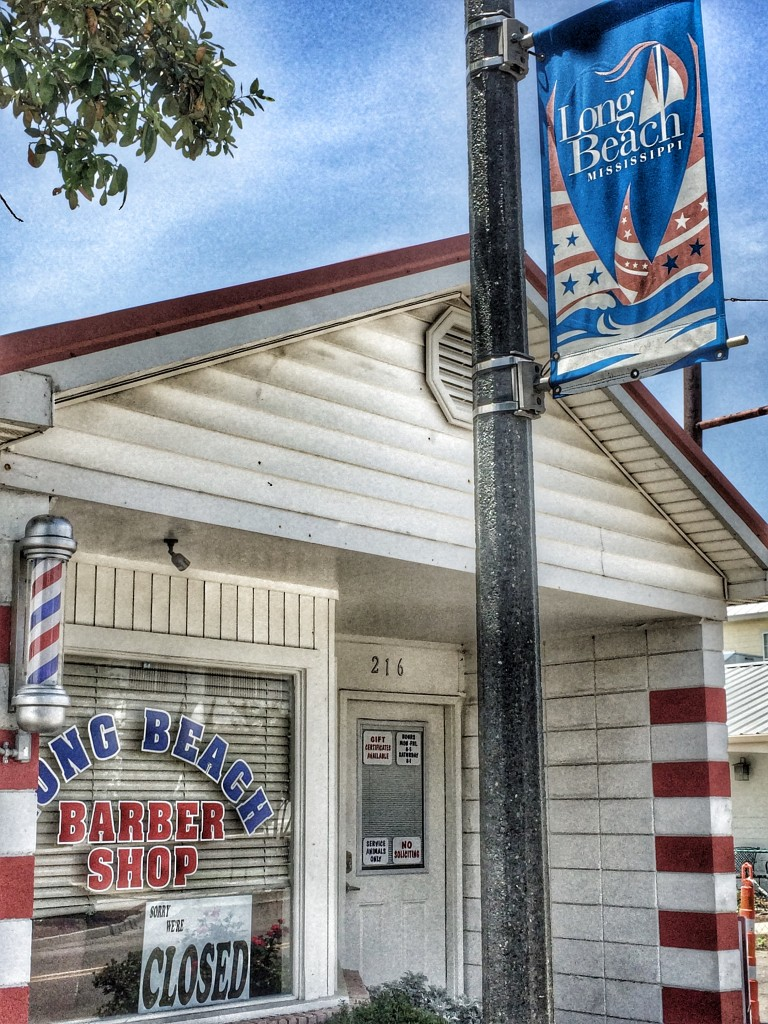 A barber shop in the small downtown area of Long Beach, Mississippi