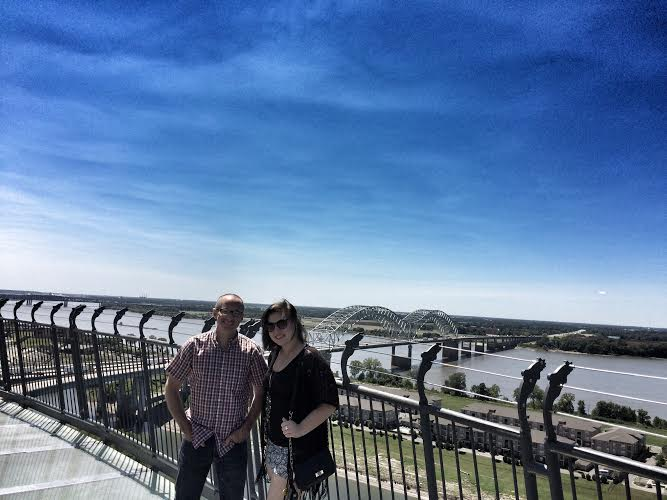 Posing for a photo on the observation deck with a Memphis local - my friend, Nina. There are great views of downtown at the top.