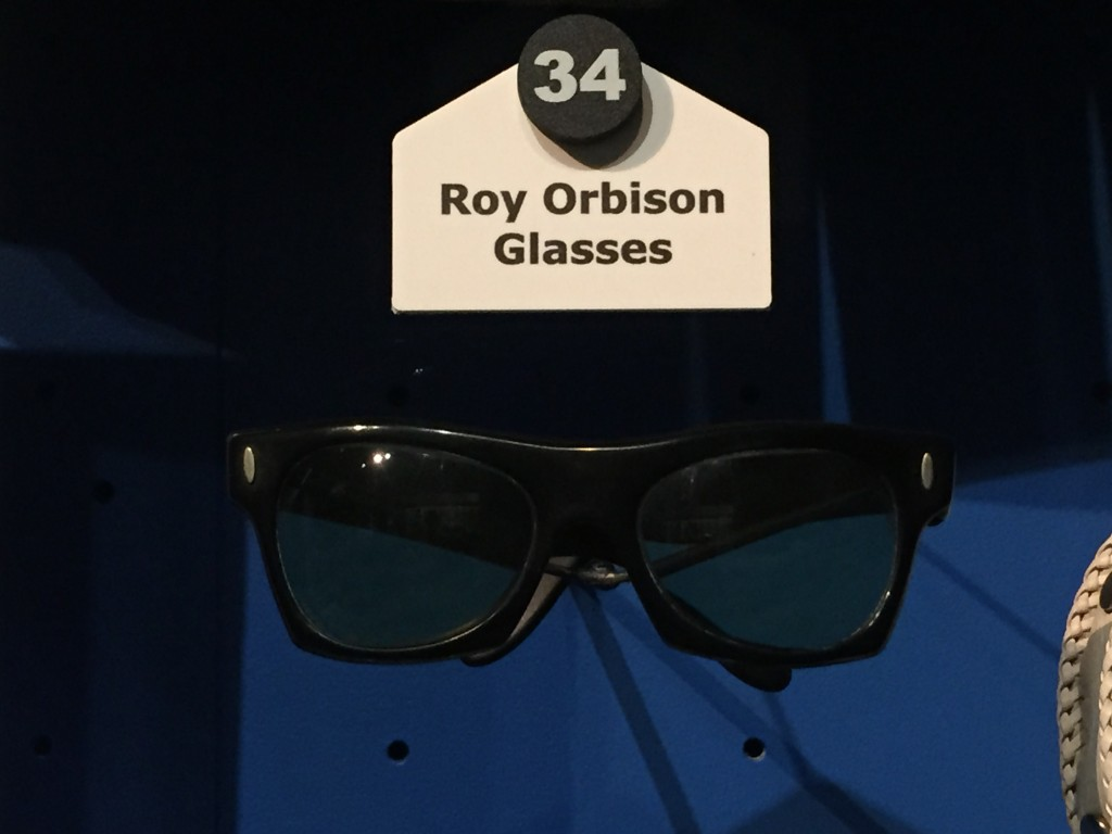 The prescription glasses worn by Roy Orbison on stage. The story goes that Orbison left his actual glasses on a plane and only had these to see with on stage. It turned out to start a trend that still exists to this day.