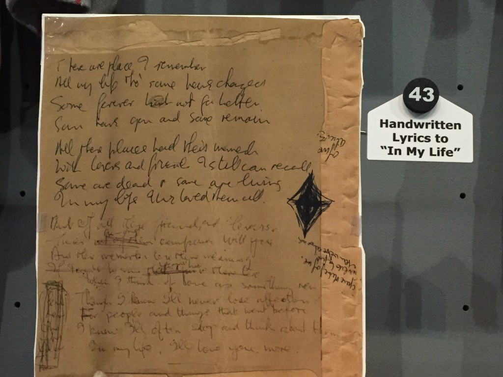 "Hand written lyrics for the Beatles song ""In My Life"""
