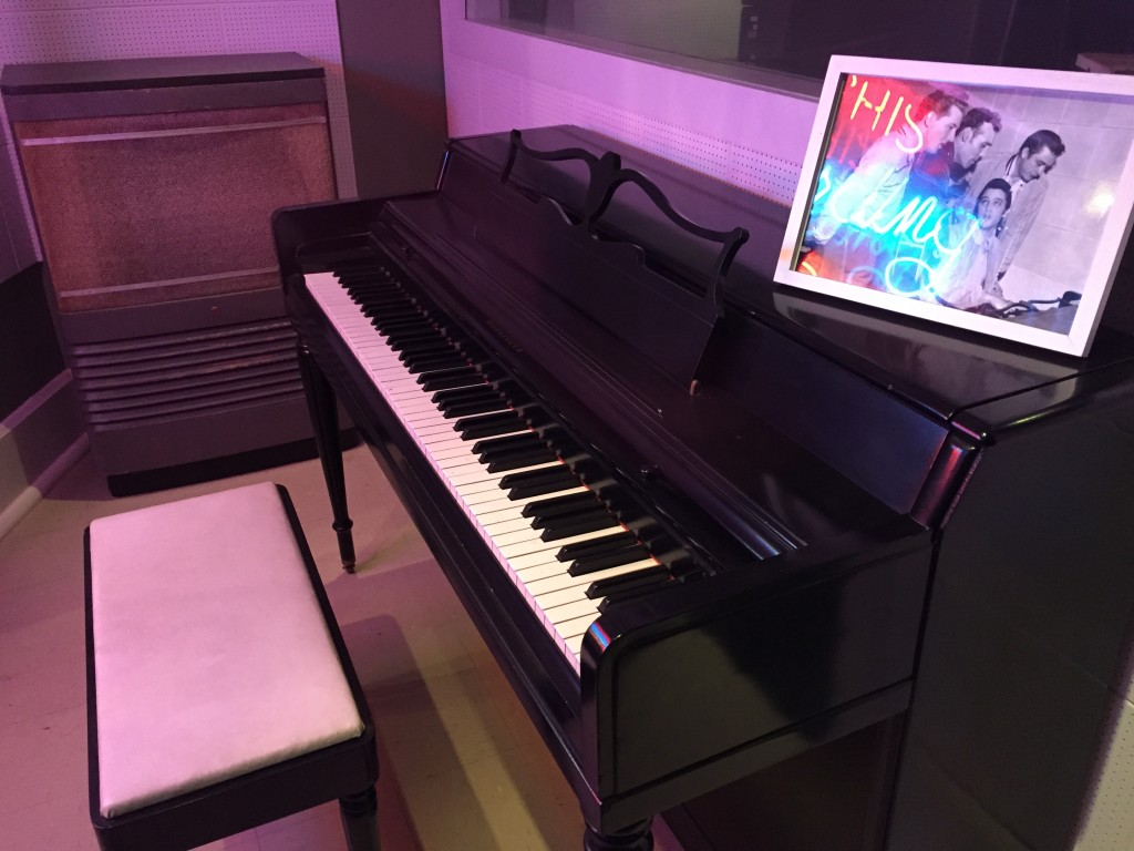 """This is the actual piano used in Sun Studio where Elvis, Jerry Lee Lewis, Carl Perkins and Johnny Cash sang and inspired what's known now as the """"Million Dollar Quartet"""". There is now a popular musical based on what happened around this piano - and it's fantastic!"""
